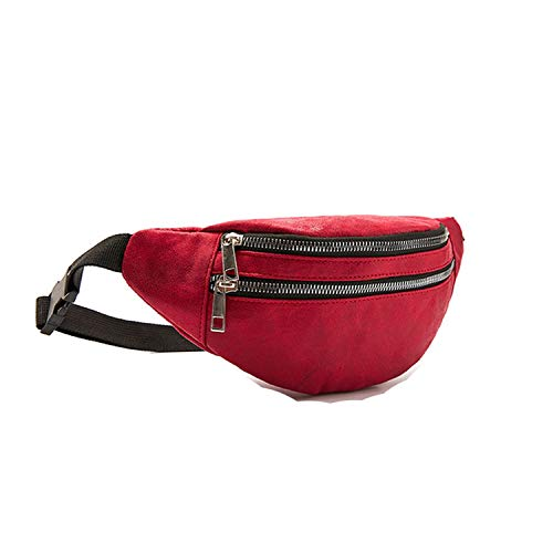 - Waist Bag Women Belt Waterproof Chest Handbag Unisex Fanny Pack Ladies Waist Pack Belly Bags Purse Size:3012,Red