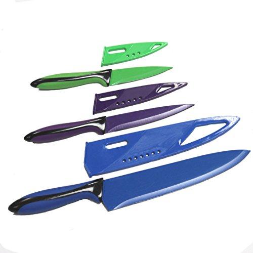 Chef Craft 3 Piece Knife with Sheath Set, Green/Purple/Blue/Black