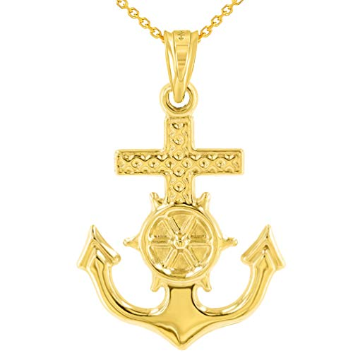 - Polished 14K Yellow Gold Anchor Charm with Mariner's Cross Nautical Pendant Necklace, 18