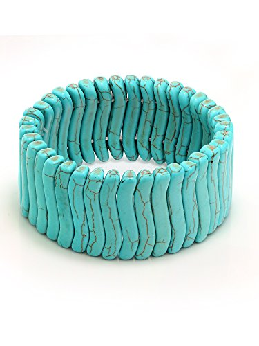 Gem Stone King 7.5 Simulated Turquoise Howlite Beads Stretchy Bangle Bracelet 30MM