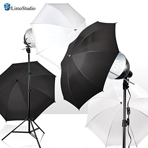 LimoStudio 2-Pack Reflector Dish Metal Lamp with Continuous Lighting Bulb and Umbrella Reflector, Lamp Socket and Umbrella Reflector Holding Slot, Light Stand Tripod, Photo Studio, AGG2604V2 by LimoStudio (Image #1)