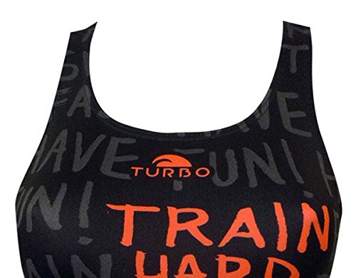 Turbo Bañador Natacion y Entrenamiento Mujer Train Hard Profesional Señora Traje de Baño de Natacion Entrenamiento Competicion Tira Ancha Doble Capa: ...