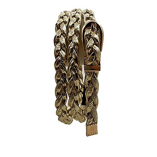 Braided Skinny Belt (metallic gold) (Gold Braided Belt)