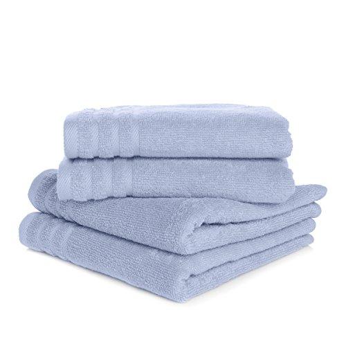 Joy Mangano Supreme Stretch S/4 Washcloths SPA Blue Towel Sets,