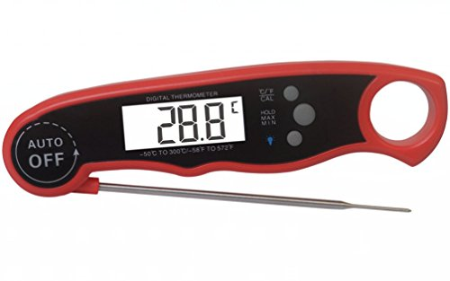 Digital Meat Thermometer with Quick Read Probe for Kitchen and BBQ Grill Cooks by Jomoris Waterproof BIG Bright Backlit LCD Screen Easy to Read 3 Second Response Superior Accuracy Battery Included