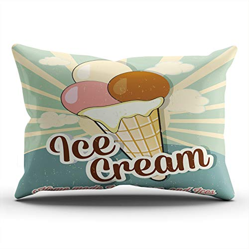 MUKPU Pillow Covers Ice Cream Vintage Throw Pillow Case Hidden Zipper Decorative Custom Pillow Cases One Side Printed King 20x36 Inches