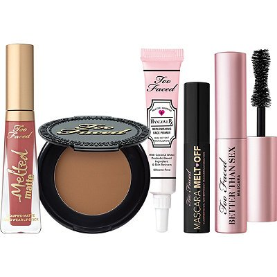 Too Faced Is My Life 5 Piece Mini Travel Makeup Set Better Than Sex Mascara Primer Lipstick Bronzer Cleansing Oil
