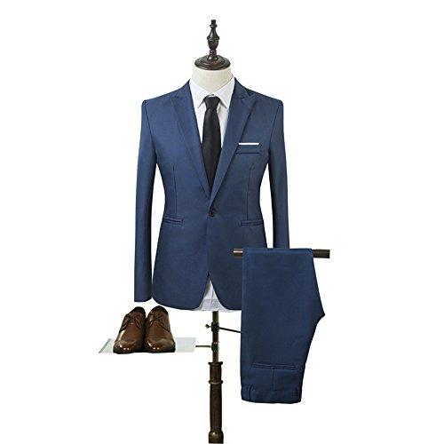Fashionmy Men's Slim Fit Suit Groom Wedding Suits 2 Pieces 1 Button RoyalBlue 3XL (Slender Man Suits)