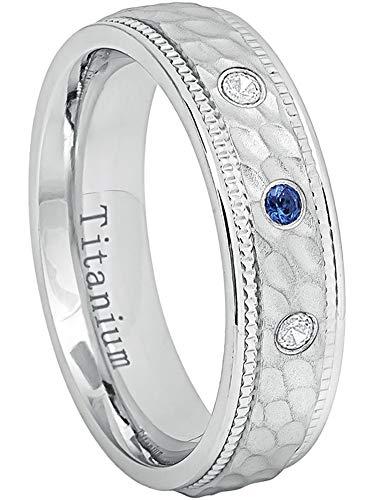 0.21ctw Blue Sapphire & White Diamond Titanium Ring - 6MM Comfort Fit White Dimpled Center with Milgrained Edge Titanium Wedding Band - ()