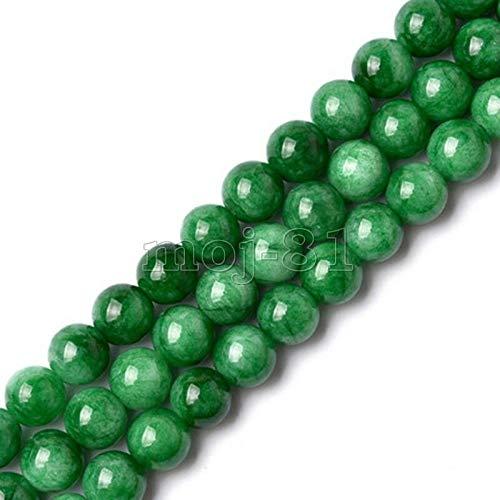 FidgetFidget 8mm Natural Smooth Green Jadeite Jade Round Gemstone Loose Beads 15