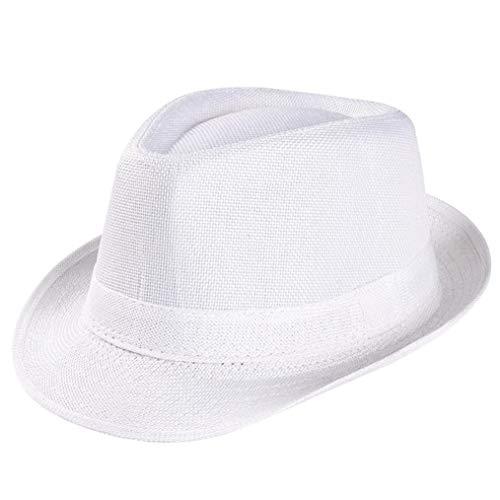 Kanhan Unisex Straw Trilby Gangster Cap Summer Beach Hats Fashion Panama with Short Brim -