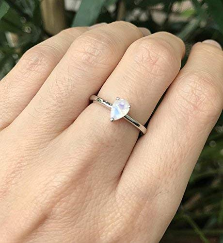 - Tiny Prong Moonstone Ring- Boho Midi Moonstone Ring- Stackable Sterling Silver Ring- June Birthstone Ring- Small Faceted Moonstone Ring