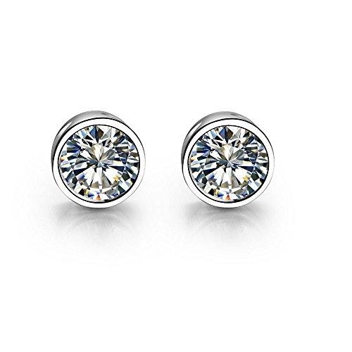 ASHIJIN Brilliant Diamond Fine Female Wedding Earrings Brooch Solid Original Sterling Silver Forever ()