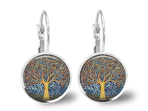 San Valent/ín- regalo de cumplea/ños plata antigua Regalo de Navidad para regalo mujer Pendientes cabochon Klimtel /árbol de la vida ref.59a