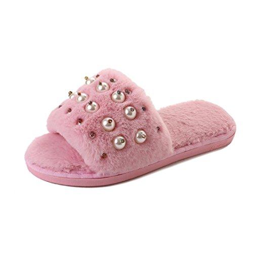 Pantofola In Pelliccia Sintetica, Donne Inkach Punta Aperta Su Morbidi Sandali Piatti Infradito Con Sandali Infradito Rosa