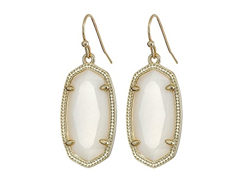 Mother Of Pearl Pattern Earrings - Kendra Scott Signature Dani Earrings in White Mother of Pearl and Gold Plated