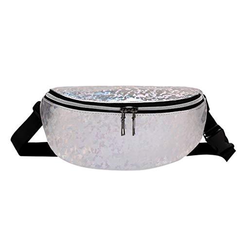 (Students Outdoor Sports Diagonal Discolor Chest Bags Women Panelled Zipper Messenger Bag Adjustable Waist Bag (free, Silver))