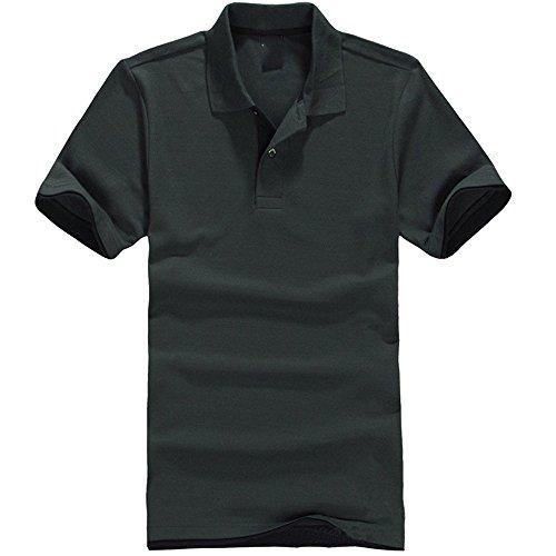 ZFADDS New Men's Polo Shirt Men Cotton Short Sleeve Shirt Brands Jerseys Mens Shirts Polo Shirts Dark Green S ()