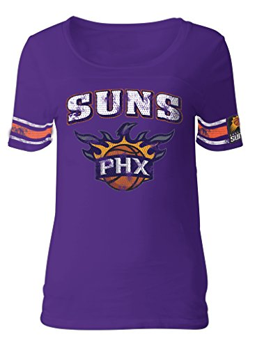 5th & Ocean NBA Phoenix Suns Adult Women Ladies Baby Jersey Short Sleeve with Printed Sleeve Stripes,M,Purple -