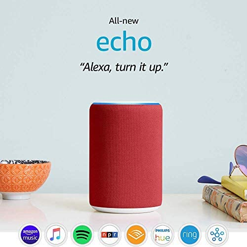 Certified Refurbished Echo (3rd Generation)- Smart Speaker with Alexa, (RED) edition