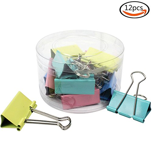 """Outuxed 12pcs 2"""" Large Assorted Color Binder Clips Metal Paper Clips for Keeping Documents Together"""