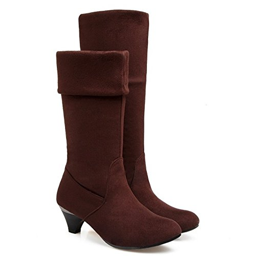 On Mid Shoes TAOFFEN Brown Kitten Pull 1457 High Heel Boots Autumn Classical Women HqzIqxwSA