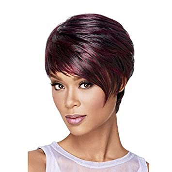Amazon Com Qianbaihui Straight Short Pixie Cut Wigs Synthetic For