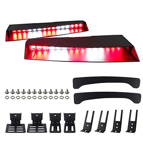 ASPL Visor lights bar 2-15 LED 29 Flash Patterns Interior Upper Windshield Split Mount Emergency Hazard Warning Strobe Light Bar (Red/White)