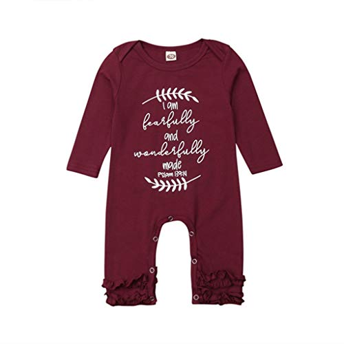 Ianchoo Lovely Cute Newborn Baby Girl Long Sleeve Letter Print Ruffles Cotton Romper Jumpsuit Clothes, 12M ()