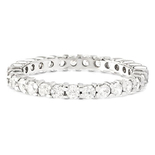 Shared Prong (TwoBirch Stackable 2.1 mm White Cubic Zirconia Set In Sterling Silver Double Shared Prong Eternity Ring)