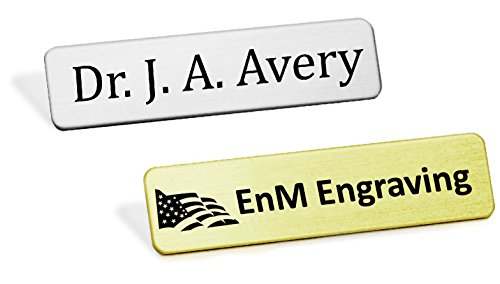 Style Metal Name Badge, Custom Engraved Uniform Name Badge, Fused Posts, 1/2 H x 2-3/8 W or 5/8 H x 2-1/2 W (Silver Metal Name Tag)