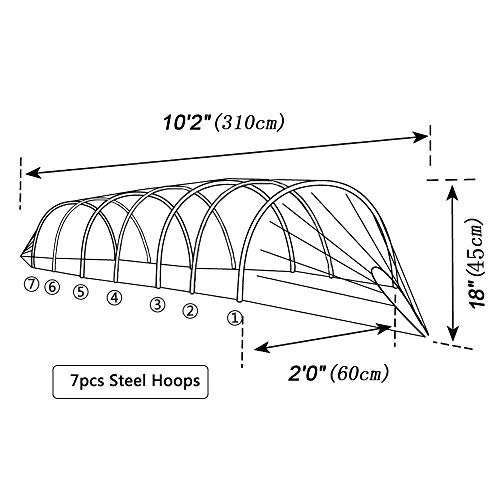 TYLife 1090-3215 Netting Grow Fleece Garden Easy Tunnel Cloche,Plant Cover for Growing Plants with Hoop, 10' Long x 18'' High by TYLife (Image #1)