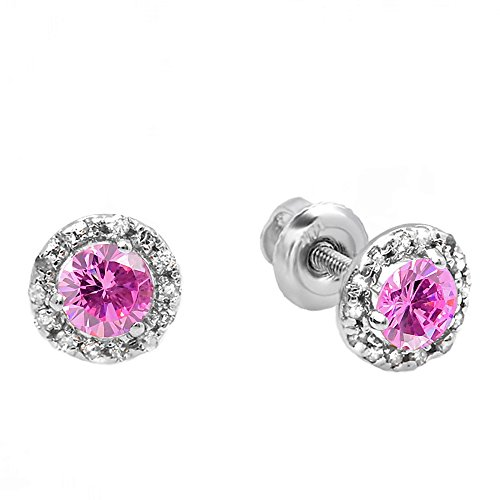 (Dazzlingrock Collection 10K Round Pink Sapphire & White Diamond Halo Stud Earrings, White Gold)