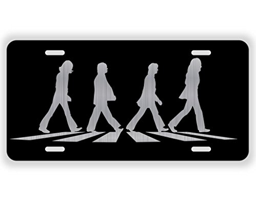 Vincit Veritas Beatles Vinyl Album Record Iconic Abbey Road Crosswalk Merchandise Memorabilia Black Laser Etched License Plate Aluminum | 12 Inch by 6 Inch Standard License Plate Size | LP007