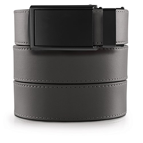 SlideBelts Men's Classic Belt - Custom Fit (Grey Leather with Matte Black Buckle (Vegan), One -