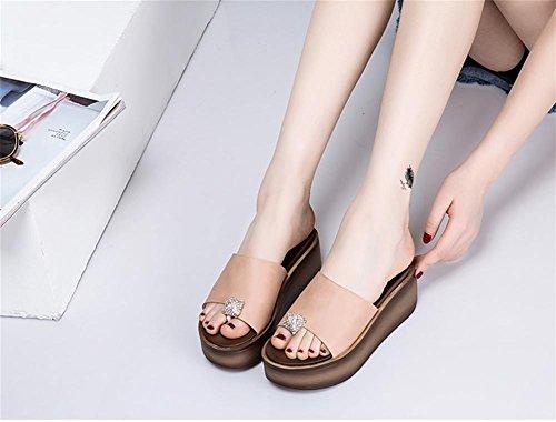 Zapatos de sandalias gruesas del loquat de las sandalias del verano de las señoras de los deslizadores 4