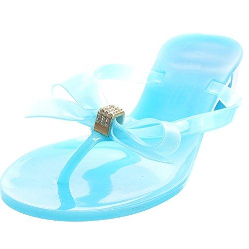 Sopily - Scarpe da Moda sandali infradito Infradito donna papillon strass Tacco a blocco 3.5 CM - Blu