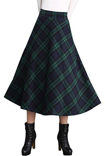 Gihuo Women's High Waist A-line Flared Long Skirt Winter Fall Warm Woollen Skirt (S, Green)