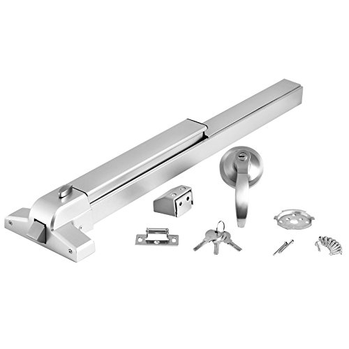 Happybuy Door Push Bar Panic Exit Device with Exterior Lever Commercial Emergency Exit Bar Stainless Steel Panic Exit Device Suitable for Wood Metal Door (Push Bar with Exterior Lever) by Happybuy