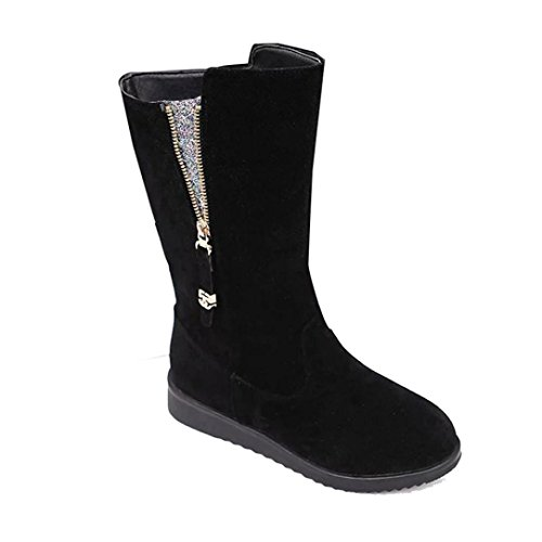 Deesee (tm) Dames Dames Laarzen Plat Winter Warme Schoenen Korte Sneeuwlaarzen (us 9.5, Zwart)