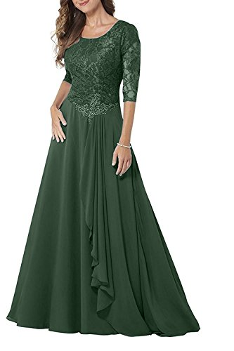 65eaa9599d Pretygirl Womens Lace Chiffon 1 2 Sleeve Mother of Bride Dress A ...