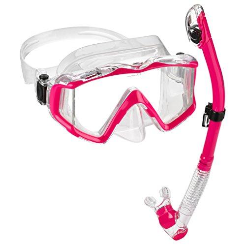 - Phantom Aquatics Panoramic Scuba Mask Snorkel Set, Ultra - Pink