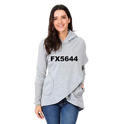 Women Irregular Sweatshirt GREFER Hot Sale Letter Print Hoodies Funny Pattern Pullover -