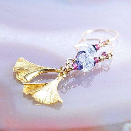 Gold Vermeil Ginkgo Earrings with Blue Topaz Iolite and Garnet Beads - Gold Vermeil Leaf Earrings
