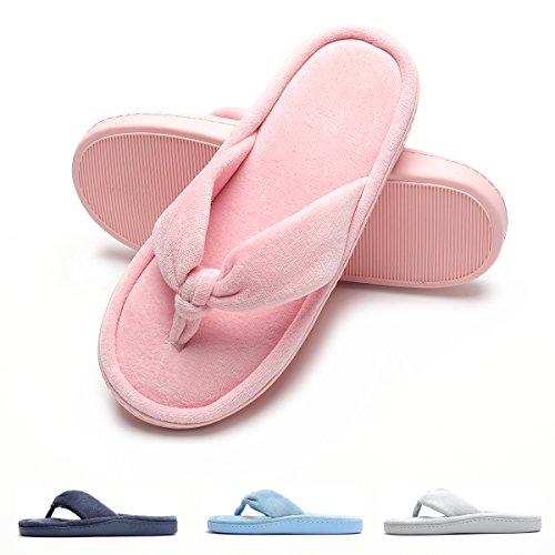 Toe Cozy Lining Open Velvet Spa House Pink Flip Slippers Slippers Women's Indoor Flops Thong 1qzCqRdP