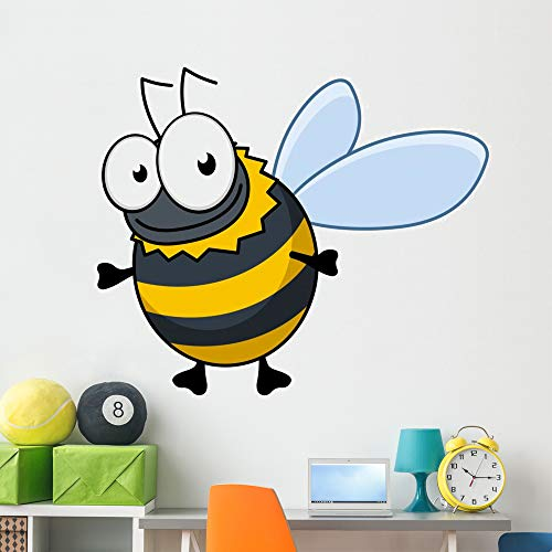 Wallmonkeys Flying Cartoon Bumble Bee Wall Decal