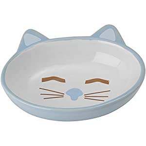 Petrageous Stoneware Pet Bowls Here Kitty, 5-1/2-Inch Oval, 5.3-Ounce