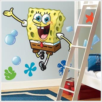 Amazoncom Spongebob Peel Stick Giant Wall Decal Toys And - Spongebob wall decals