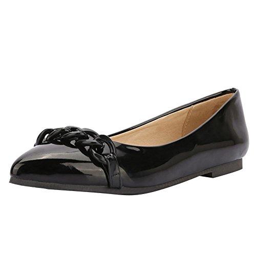 Pied De Charme Womens Confort Bout Pointu En Cuir Verni Chaussures Plates Noir