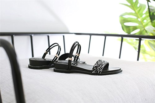 Chaussures Plat Simple Nouveau Sauvage Noir Compensées Été Porter XIAOQI Fée Strass Sandales Femelle Sandales xz8nFq08t